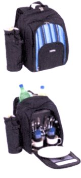 2 PERSON BACKPACK PICNIC SET AND COOLER - BLUE STRIP : $75