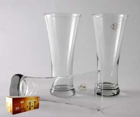 QUENCH PILSNER BEER GLASSES BOXED SET OF 10
